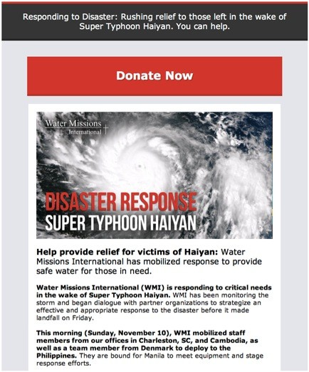 water missions Typhoon Haiyan